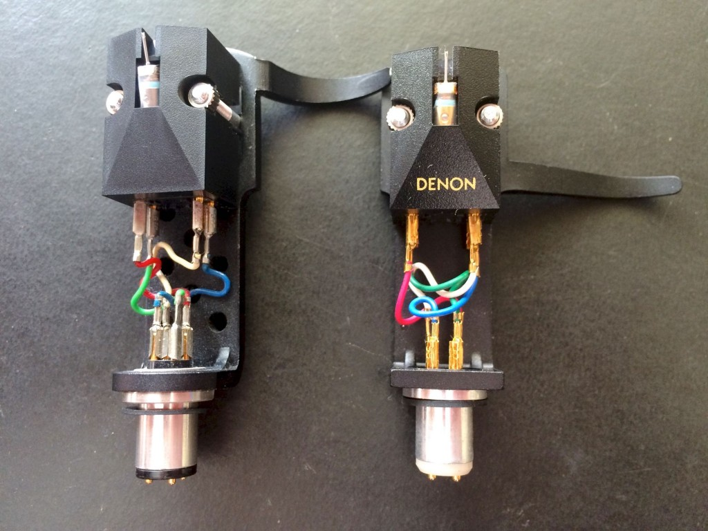 The Denon 103 moving coil phono cartridge shown on the left, and the 103R shown on right.